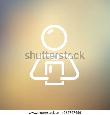 Man holding touch screen tablet icon thin line for web and mobile, modern minimalistic flat design. Vector white icon on gradient mesh background. - stock vector
