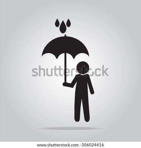 Man holding umbrella in the rain vector illustration
