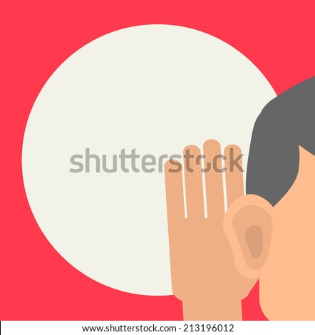 Man holds his hand near his ear and listening, vector illustration - stock vector