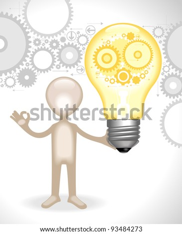 man  holds the bulb with gears.concept of the emergence of the idea - stock vector