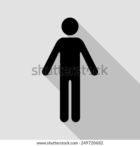 man icon - black illustration with long shadow - stock vector