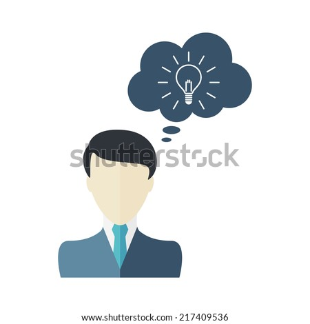 Man icon with dialog speech bubble. Vector illustration - stock vector