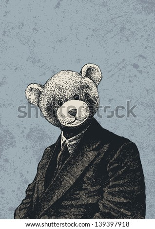 man in a bear mask and grunge scratched background. vector illustration.