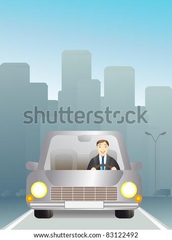 man in a car traveling on the road - stock vector