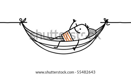 man in a hammock - stock vector