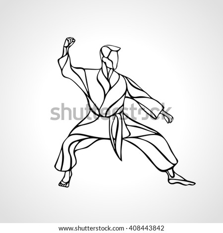 Man in a karate pose. Martial arts man silhouette. Detailed vector illustration of a martial arts master - stock vector