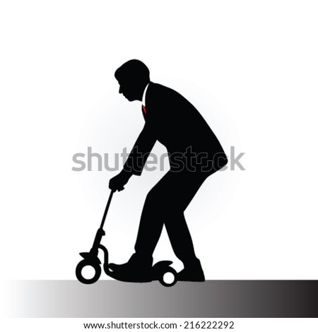 man in a suit driving kids scooter vector illustration - stock vector