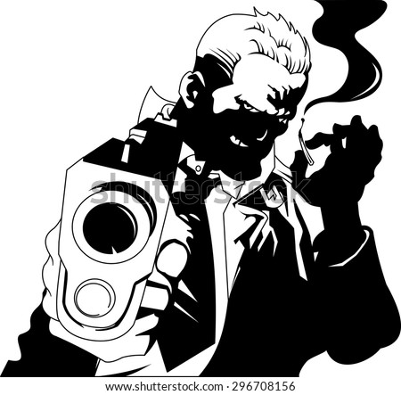 man in black suits with a weapon, vector and illustration