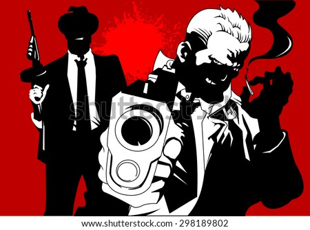 man in black suits with a weapon, vector and illustration - stock vector