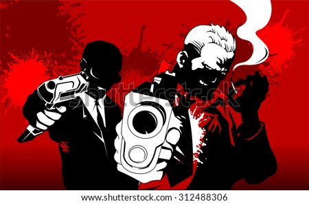 man in black suits with a weapon, vector, illustration