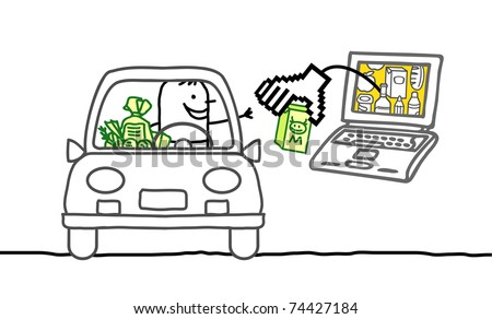 man in car with laptop and cyber market - stock vector