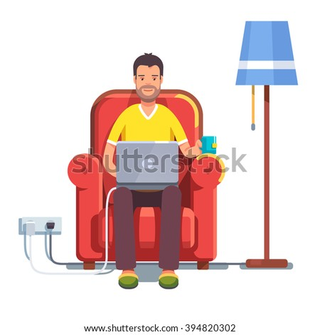 Man in casual outfit sitting home in comfortable armchair and browsing or working on laptop at his laps. Flat style color modern vector illustration. - stock vector