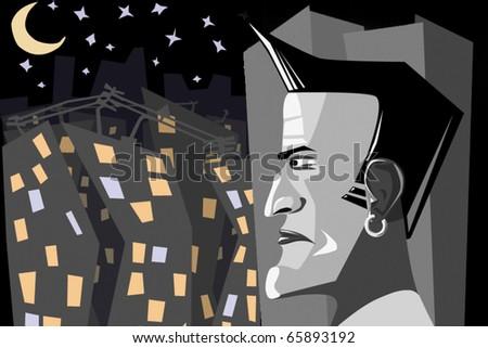 man in city - stock vector