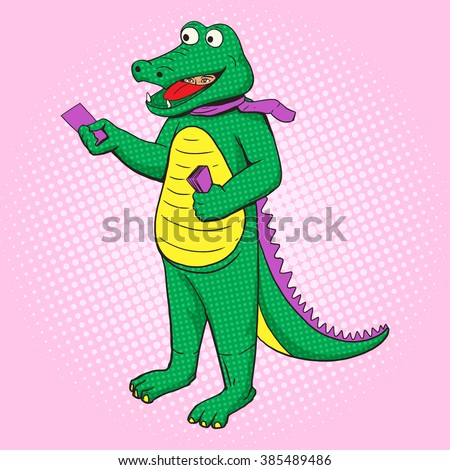 Man in crocodile costume distribute pop art style vector. Human illustration. Comic book style imitation. Vintage retro style. Conceptual illustration