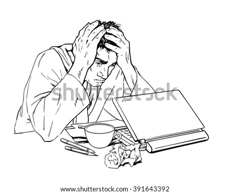 Man in depression. The crisis in the country and life. Bad feeling. The patients condition. Stress at work, at home, in  family. Of bankruptcy. The loss of meaning in life. Man with a laptop.  - stock vector
