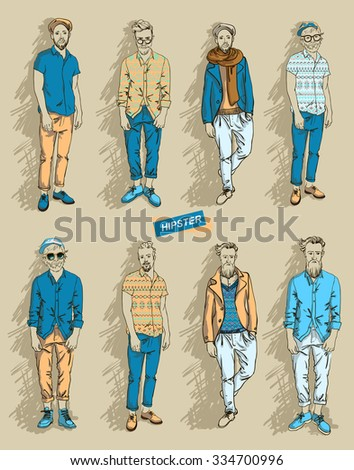 man in fashion clothes isolated on light background set vector illustration  - stock vector