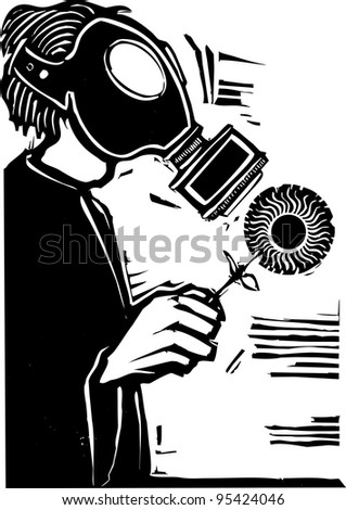 Man in Gas mask holding a sun like flower