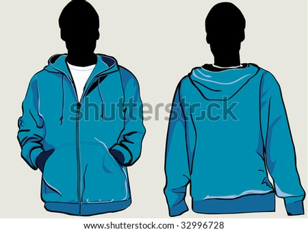 Man in hooded sweatshirt with zipper in front and back - stock vector