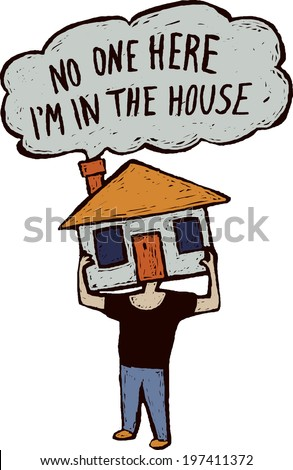 Man in house Alone man is hiding at home. Color vector illustration is isolated on white with bubble and text. Color vector illustration.   - stock vector