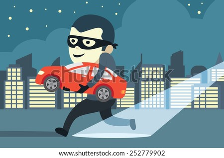 Man in mask trying to steal a car in city - stock vector