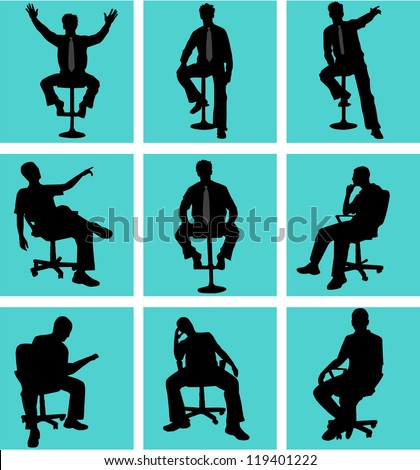 Man in position sitting - stock vector