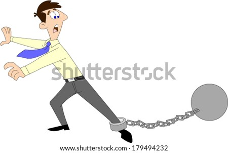 Man in shirt and tie looking frantic over ball & chain on ankle - stock vector