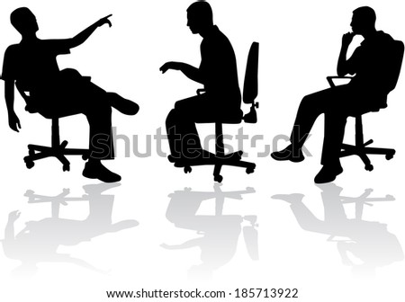 Man in sitting position  - stock vector