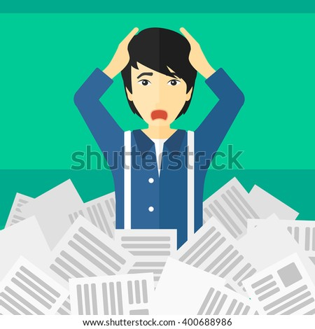Man in stack of newspapers. - stock vector