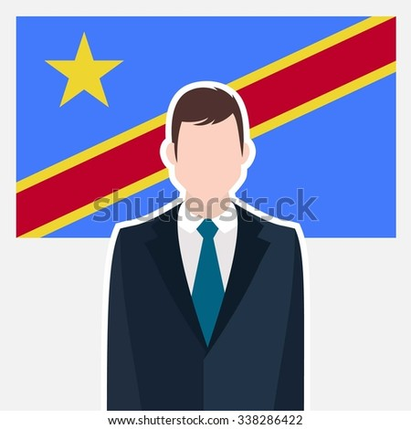 Man in suit Front of Democratic Republic of the Congo Country Flag. business man Presentation conference concept. Modern flat design vector illustration. Country Flag background