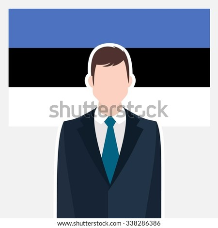 Man in suit Front of Estonia Country Flag. business man Presentation conference concept. Modern flat design vector illustration. Country Flag background - stock vector