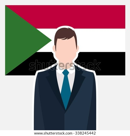 Man in suit Front of Sudan Country Flag. business man Presentation conference concept. Modern flat design vector illustration. Country Flag background