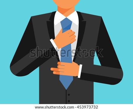 Man in suit is adjusting his tie, vector flat illustration - stock vector