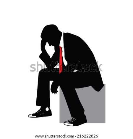 man in suit sitting and thinking vector illustration - stock vector