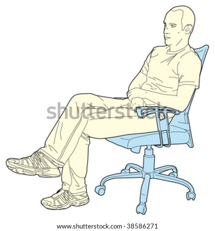 man in the office 2 - stock vector