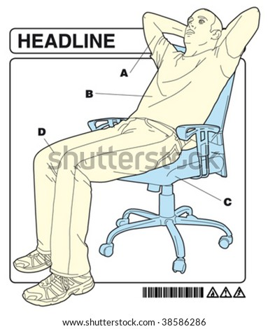 man in the office 3 with instructions - stock vector
