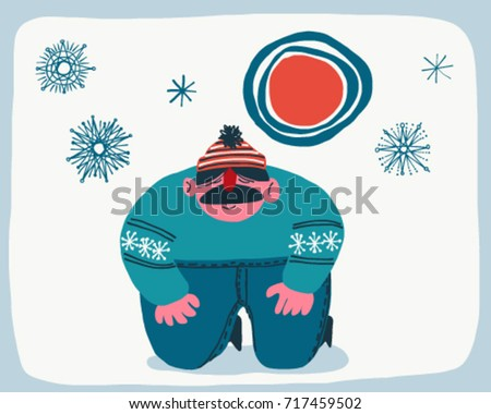 Man in the snow with snowflakes vintage vector cartoon