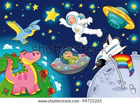 Man in the space. Cartoon and vector isolated illustration. - stock vector