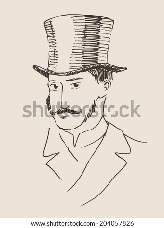 man in top hat  (gentleman) vintage engraved illustration, hand drawn, sketch - stock vector