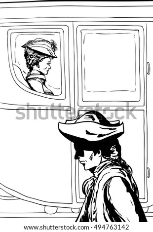 http://thumb9.shutterstock.com/display_pic_with_logo/620377/494763142/stock-vector-man-in-tricorn-hat-walking-past-wealthy-th-century-woman-carriage-with-glass-windows-494763142.jpg