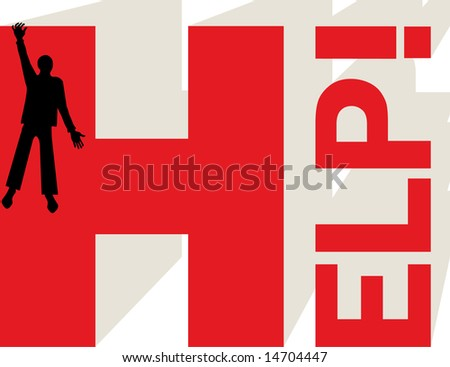 Man in troubles asking help - stock vector