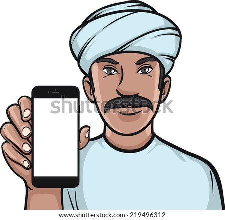 man in turban showing a mobile app on a smart phone - stock vector