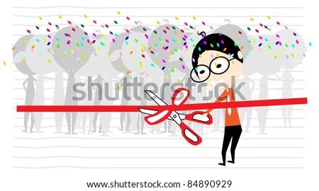 man inauguration editable vector cartoon - stock vector