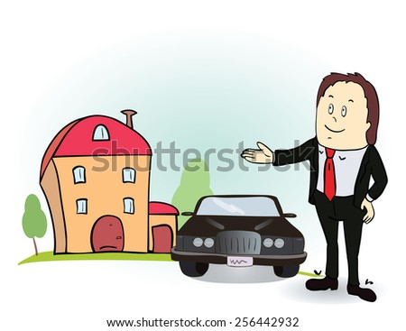 Man indicates his hands on the house and car. Vector illustration. Colorful cartoon image  - stock vector