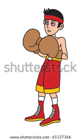 Man is boxing against stronger boxer cartoon vector illustration - stock vector