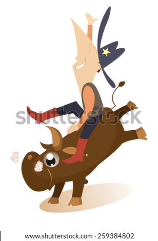 Man is riding on the bull - stock vector