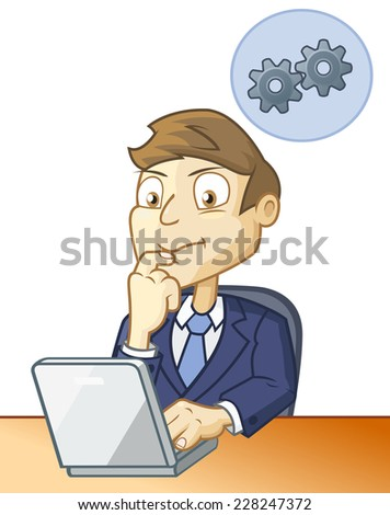 Man is sitting at the desk in front of the computer and looking for solution - stock vector