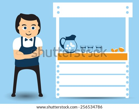 Man is standing beside his lemonade stand - small business flat character design. - stock vector