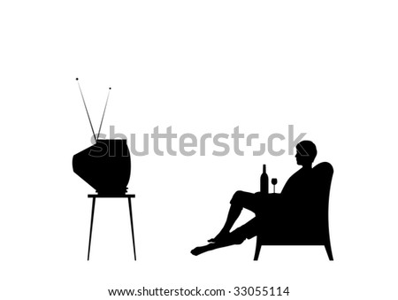 Man is watching tv. Isolated on the white background. - stock vector