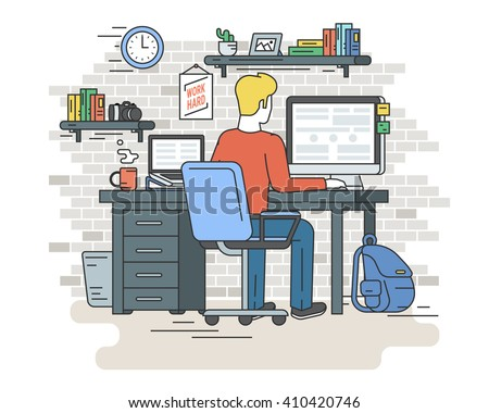 Man is working with laptop. Flat line contour illustration of student sitting at home and  typing on computer. Vector illustration of interior background - stock vector