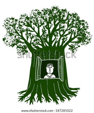Man ives in a tree with window - stock vector